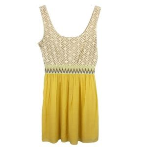 Lily Rose Cream & Mustard Yellow Midi Sun Dress M